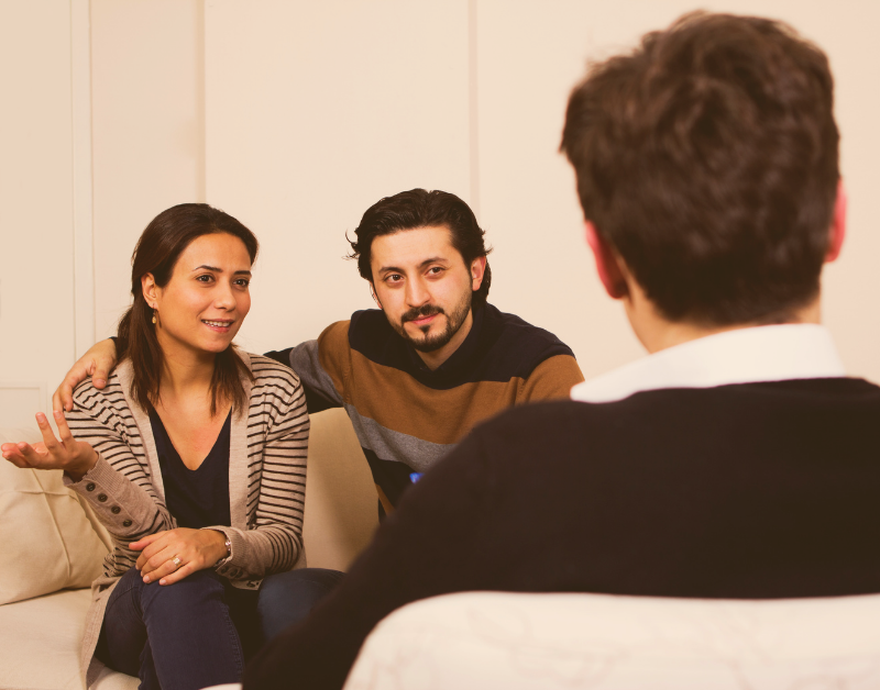 couple talking to a counselor