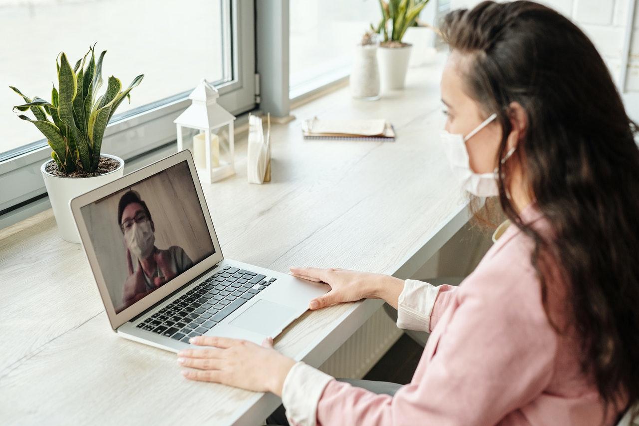 woman having a video cal